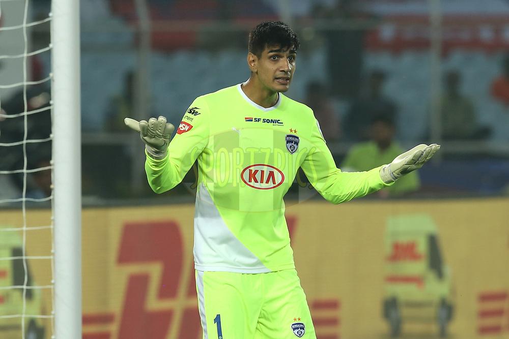 Gurpreet Singh Sandhu, Goalkeeper of Bengaluru FC reacts during match 24 of the Hero Indian Super League 2018 ( ISL ) between ATK and Bengaluru FC held at the Yuba Bharati Krirangan stadium (Salt Lake Stadium) in Salt Lake Kolkata, India on the 31st October<br /> <br /> Photo by: Deepak Malik /SPORTZPICS for ISL