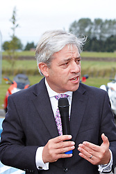 © Licensed to London News Pictures.  28/09/2012. Westcott, UK. Speaker and Buckingham MP John Bercow (pictured) and Kenneth Bannerman (not pictured), DG of the Airfields of Britain Conservation Trust unveil a memorial stone at Westcott Airfield in Buckinghamshire. During WW2 the airfield was used to train bomber crews and to repatriate 50,000 former British prisoners of war. Captured German rockets were also tested. The airfield is now a business park. Photo credit :  Cliff Hide/LNP