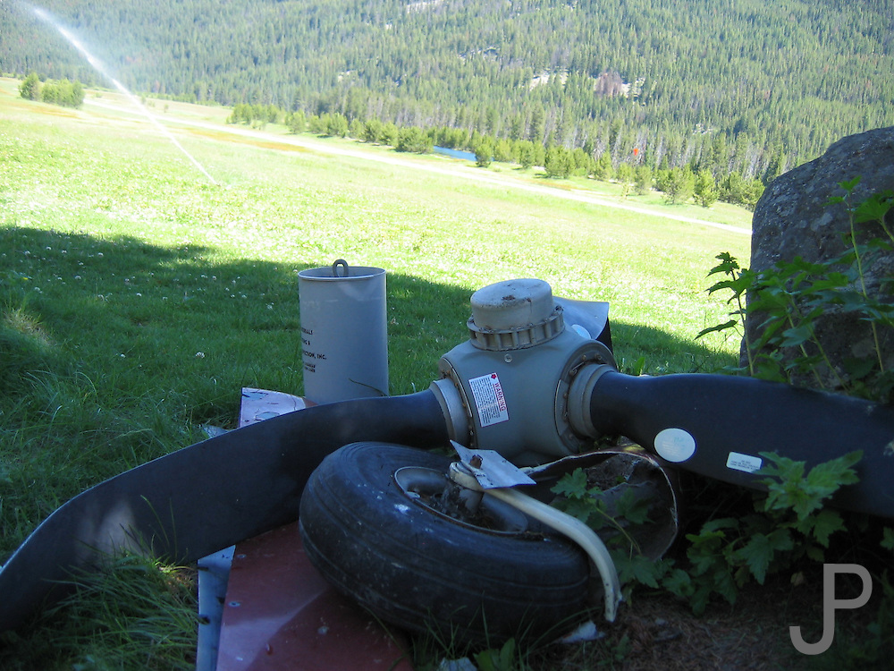 Propeller from a crashed airplane that failed to make the landing at Sulphur Creek, ID