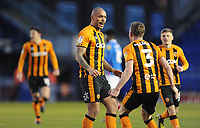 Hull City's Josh Magennis celebrates scoring his side's fourth goal with team-mate Callum Elder<br /> <br /> Photographer Ian Cook/CameraSport<br /> <br /> The EFL Sky Bet League One - Portsmouth v Hull City - Saturday 23rd January 2021 - Fratton Park - Portsmouth<br /> <br /> World Copyright © 2021 CameraSport. All rights reserved. 43 Linden Ave. Countesthorpe. Leicester. England. LE8 5PG - Tel: +44 (0) 116 277 4147 - admin@camerasport.com - www.camerasport.com