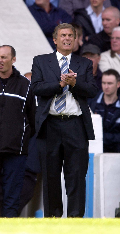 Manchester City v West Ham United, FA Barclaycard Premiership, Maine Road, Manchester. 27/04/2003.<br />A pained expression on the face of new West Ham caretaker manager Trevor Brooking as his team struggle to escape relegation.<br />Photo. Jed Wee, Digitalsport