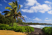 """Hana Bay beach in Hana, Maui, Hawaii<br /> .....<br /> The island of Maui is the second-largest of the Hawaiian Islands and is the 17th largest island in the United States. Maui is part of the State of Hawaii and is the largest of Maui County's four islands, bigger than Molokaʻi, Lānaʻi, and unpopulated Kahoʻolawe. Native Hawaiian tradition gives the origin of the island's name in the legend of Hawaiʻiloa, the navigator credited with discovery of the Hawaiian Islands. According to that legend, Hawaiʻiloa named the island of Maui after his son, who in turn was named for the demigod Māui. The earlier name of Maui was ʻIhikapalaumaewa. The Island of Maui is also called the """"Valley Isle"""" for the large isthmus between its northwestern and southeastern volcanoes and the numerous large valleys carved into both mountains."""