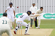 Muhammad Abbas bowls a short ball at Harvey Hosein during the Specsavers County Champ Div 2 match between Leicestershire County Cricket Club and Derbyshire County Cricket Club at the Fischer County Ground, Grace Road, Leicester, United Kingdom on 27 May 2019.