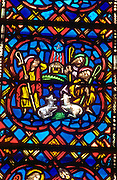 Stained glass crèche scene shepherds with their flock at Westminster Presbyterian Church. Minneapolis Minnesota USA