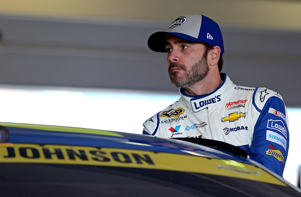 Nov 19, 2016; Homestead, FL, USA; NASCAR Sprint Cup Series driver Jimmie Johnson (48) during practice for the Ford Ecoboost 400 at Homestead-Miami Speedway. Mandatory Credit: Peter Casey-USA TODAY Sports
