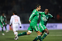 FOOTBALL - FRENCH CHAMPIONSHIP 2010/2011 - L1 - AS NANCY v AS SAINT ETIENNE - 27/11/2010 - PHOTO GUILLAUME RAMON / DPPI - JOY OF ASSE AFTER THE GOAL LOIC PERRIN (ASSE)