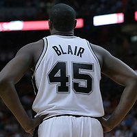 16 March 2010: San Antonio Spurs DeJuan Blair rests during the San Antonio Spurs 88-76 victory over the Miami Heat at the AmericanAirlines  Arena, in Miami, Florida, USA.