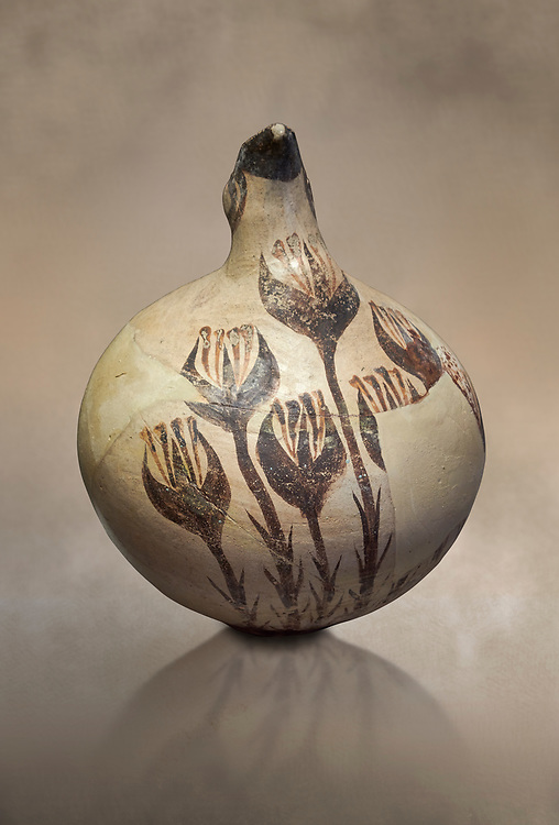 Beak spouted jug decorated with flowering crocus. Early Cycladic I (1650-1550 BC) , Phylakopi, Melos. National Archaeological Museum Athens. Cat No 5769.<br /> <br /> During this Cycladic period the pottery designs were heavily influenced by Cretean minoan with pottery like this using floral patterns. .<br /> <br /> If you prefer to buy from our ALAMY PHOTO LIBRARY  Collection visit : https://www.alamy.com/portfolio/paul-williams-funkystock/cycladic-art-artefacts.html Type into the LOWER SEARCH WITHIN GALLERY box to refine search by adding background colour, place, museum etc<br /> <br /> Visit our CYCLADIC CIVILISATIONS PHOTO COLLECTIONS for more photos to download or buy as wall art prints https://funkystock.photoshelter.com/gallery-collection/Cycladic-civilisation-Ancient-Greek-Artefacts-art-Photos-Pictures-Images/C0000CmevVvnC.XU