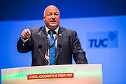 Bob Crow, General Secretary of the RMT speaking at TUC Congress 2013, Bournemouth International Centre, Dorset, United Kingdom.