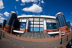 Hampden Stadium, Glasgow. tIt is the national stadium of football in Scotland and is the home venue of the Scotland national football team and amateur Scottish Football League club Queen's Park, and hosts the latter stages of the Scottish Cup and Scottish League Cup competitions. It is also used for music concerts and other sporting events.