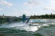 View of American Falls, a part of Niagara Falls, from Luna Island, Buffalo, New York, USA.