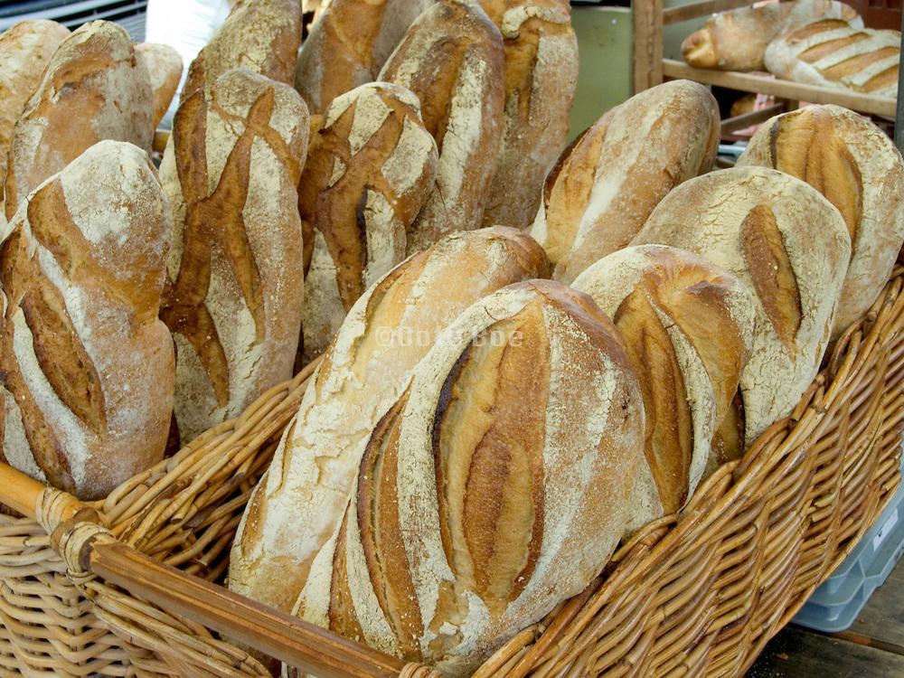 Fresh baked bread in basket