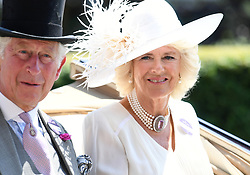 The Prince of Wales and Duchess of Cornwall in their carriage during day one of Royal Ascot at Ascot Racecourse, London