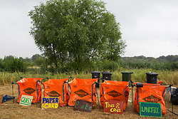 Roydon, Essex, UK. 27 July, 2019. Recycling facilities at Reclaim The Power's Power Beyond Borders mass action camp.