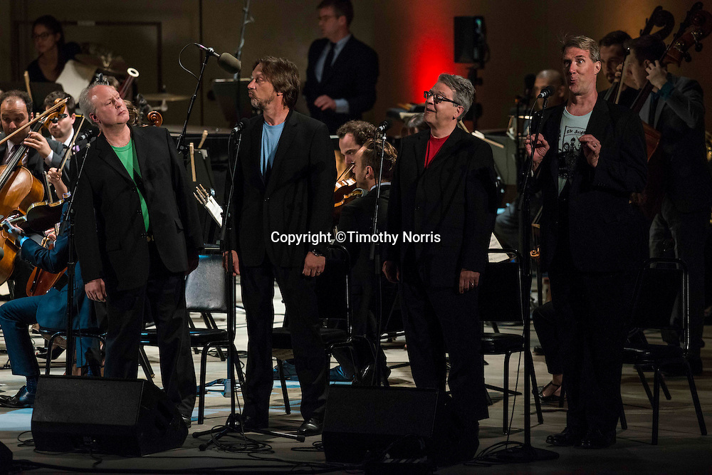 """Storm Large (vocalist), Hudson Shad and The Knights, conducted by Eric Jacobsen, perform Kurt Weill and Bertolt Brecht's """"The Seven Deadly Sins"""" at the 68th Ojai Music Festival at Libbey Bowl on June 14, 2014 in Ojai, California."""