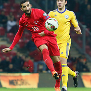 Turkey's Mehmet Topal (L) during their UEFA Euro 2016 qualification Group A soccer match Turkey betwen Kazakhstan at AliSamiYen Arena in Istanbul November 16, 2014. Photo by Kurtulus YILMAZ/TURKPIX