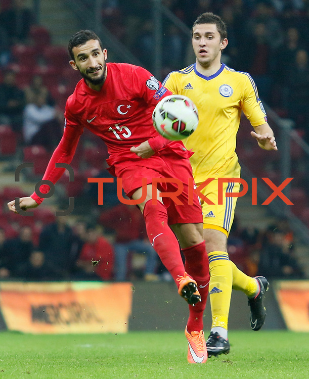 Turkey's Mehmet Topal (L) during their UEFA Euro 2016 qualification Group A soccer match Turkey betwen Kazakhstan at AliSamiYen Arena in Istanbul November 16, 2014. Photo by Kurtulus YILMAZ/TURKPIX