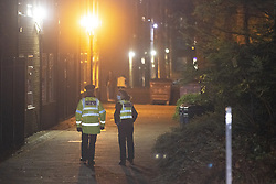 © Licensed to London News Pictures. 12/11/2020. Manchester, UK. Police at the University of Manchester's Owens Park campus this evening (12th November 2020) . Students have taken part in a demonstration at the site in support of those who have occupied Owens Park Tower as part of a rent strike at the University . Students object to rent payments for reduced facilities , the University's erection of fencing around the campus and what they describe as the UoM's failure to provide adequate mental health and wider support . Photo credit: Joel Goodman/LNP
