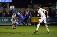 AFC Wimbledon midfielder Mitchell (Mitch) Pinnock (11) with an overhead kick during the EFL Sky Bet League 1 match between AFC Wimbledon and Burton Albion at the Cherry Red Records Stadium, Kingston, England on 28 January 2020.