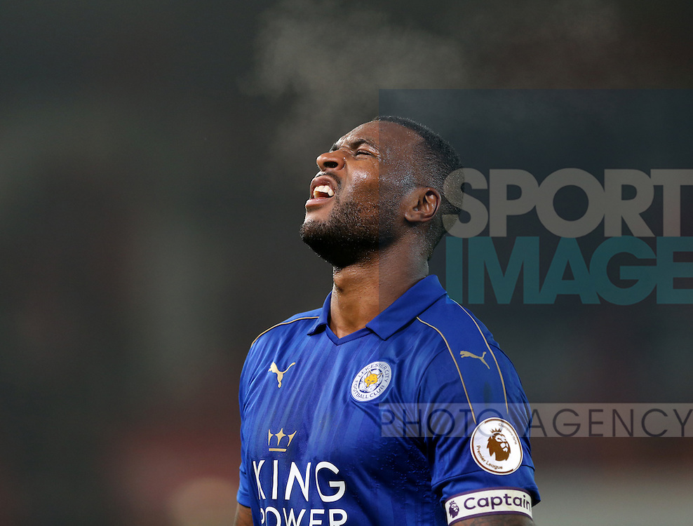 Wes Morgan of Leicester City shows emotion at the end of the match during the English Premier League match at the Bet 365 Stadium, Stoke on Trent. Picture date: December 17th, 2016. Pic Simon Bellis/Sportimage