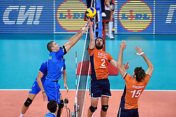 Alen Pajenk, Yannick van Harskamp #2, Thomas Koelewijn #15 during volleyball match between National teams of Netherlands and Slovenia in Playoff of 2015 CEV Volleyball European Championship - Men, on October 13, 2015 in Arena Armeec, Sofia, Bulgaria. Photo by Ronald Hoogendoorn / Sportida
