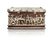 Roman relief sculpted Herakles (Hercules)  sarcophagus, 2nd century AD, Perge, inv 2017/400. Antalya Archaeology Museum, Turkey. Against a white background..<br /> <br /> If you prefer to buy from our ALAMY STOCK LIBRARY page at https://www.alamy.com/portfolio/paul-williams-funkystock/greco-roman-sculptures.html . Type -    Antalya    - into LOWER SEARCH WITHIN GALLERY box - Refine search by adding a subject, place, background colour, etc.<br /> <br /> Visit our ROMAN WORLD PHOTO COLLECTIONS for more photos to download or buy as wall art prints https://funkystock.photoshelter.com/gallery-collection/The-Romans-Art-Artefacts-Antiquities-Historic-Sites-Pictures-Images/C0000r2uLJJo9_s0