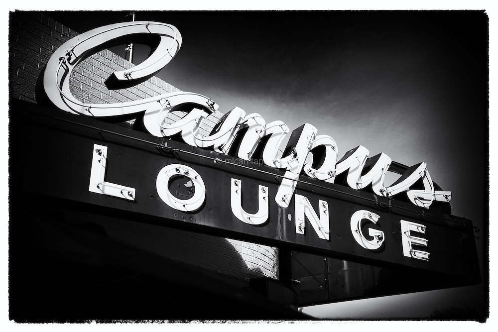The Campus Lounge in Bonnie Brae's business district is an old-style casual restaurant and lounge. The recently repaired sign stands out as a throwback to yesteryear.