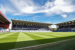 """General view of Turf Moor prior to kick-off during the Premier League match at Turf Moor, Burnley. PRESS ASSOCIATION Photo. Picture date: Sunday May 13, 2018. See PA story SOCCER Burnley. Photo credit should read: Anthony Devlin/PA Wire. RESTRICTIONS: EDITORIAL USE ONLY No use with unauthorised audio, video, data, fixture lists, club/league logos or """"live"""" services. Online in-match use limited to 75 images, no video emulation. No use in betting, games or single club/league/player publications."""