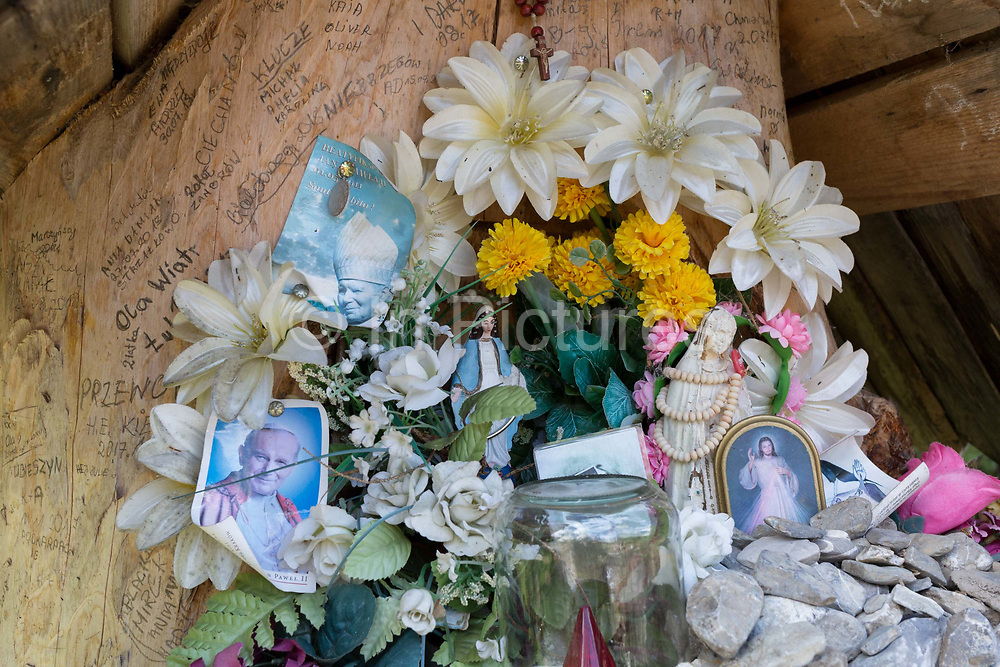 A shrine to Polish-born Pope John Paul II, on 17th September 2019, in Dolina Chocholowska, near Zakopane Malopolska, Poland. Jan Pawel II; born Karol Jozef Wojtyla 1920-2005 was head of the Catholic Church and sovereign of the Vatican City State from 1978 to 2005.
