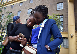 May 24, 2019 - Nairobi, Kenya - Members of the LGBT seen outside the court before the hearing..Lesbian, gay, bisexual, and transgender (LGBT) persons in Kenya face legal challenges. They filed a case in court pleading for their rights to be recognized and the court to abolish colonial era laws that criminalize gay sex. However, in the court ruling, the court upheld the laws. (Credit Image: © Andrew Kasuku/SOPA Images via ZUMA Wire)