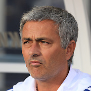 Chelsea coach Jose Mourinho during the Chelsea V AC Milan Guinness International Champions Cup tie at MetLife Stadium, East Rutherford, New Jersey, USA.  4th August 2013. Photo Tim Clayton