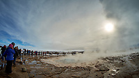 Strokkur, a geyser in the Haukadalur geothermal area beside the Hvítá River in southwest Iceland. Images taken with a Fuji X-T1 camera and Bower 8 mm f/2.8 fisheye lens (ISO 200, 8 mm, f/2.8, 1/250 sec).