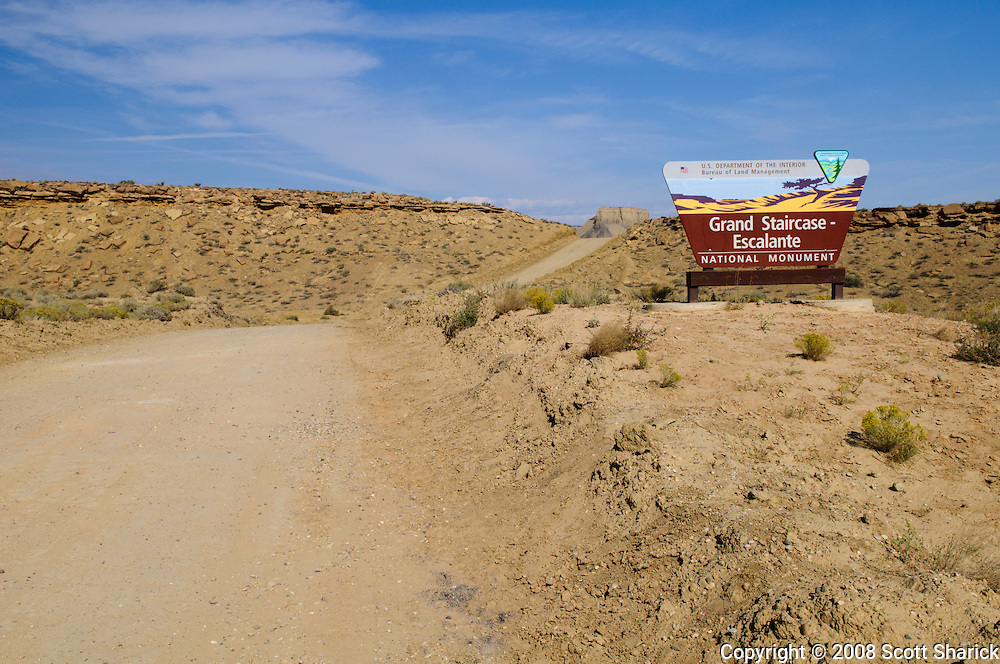 Picture of a sign announcing the entrance to the Grand Staircase - Escalante National Monument in southern Utah. Missoula Photographer