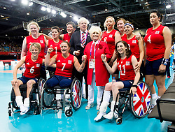 © Licensed to London News Pictures. 31/08/2012, The Paralympics women's sitting volleyball competition got under way this morning at the Excel Centre in London.   The team were beaten by the Ukrainian team who are currently ranked third in the world. Members of the team include Vice-captain Martine survived the 7/7 terrorist attacks in London and Sam Bowen an Iraqi war veteran.  Following the match the women are joined by London Mayor Boris Johnson and actress Barbara Windsor.  Photo credit : Alison Baskerville/LNP