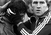 Jimmy Deenihan consoles Mick O'Dwyer after losing the five-in-a-row to Offaly in the 1982 All-Ireland.<br /> Picture by Don MacMonagle / macmonagle.com