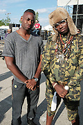 """June 2, 2012- Philadelphia, PA, United States: (L-R) Kenneth Montgomery, Esq. and Recording Artist Mr. MFN eXquire attend the 5th Annual ROOTS Picnic held at Festival Pier at Penn's Landing in Philadelphia, PA . The Roots is an American hip hop/neo soul band formed in 1987 by Tariq """"Black Thought"""" Trotter and Ahmir """"Questlove"""" Thompson in Philadelphia, Pennsylvania. They are known for a jazzy, eclectic approach to hip hop which includes live instrumentals. (Photo by Terrence Jennings)"""