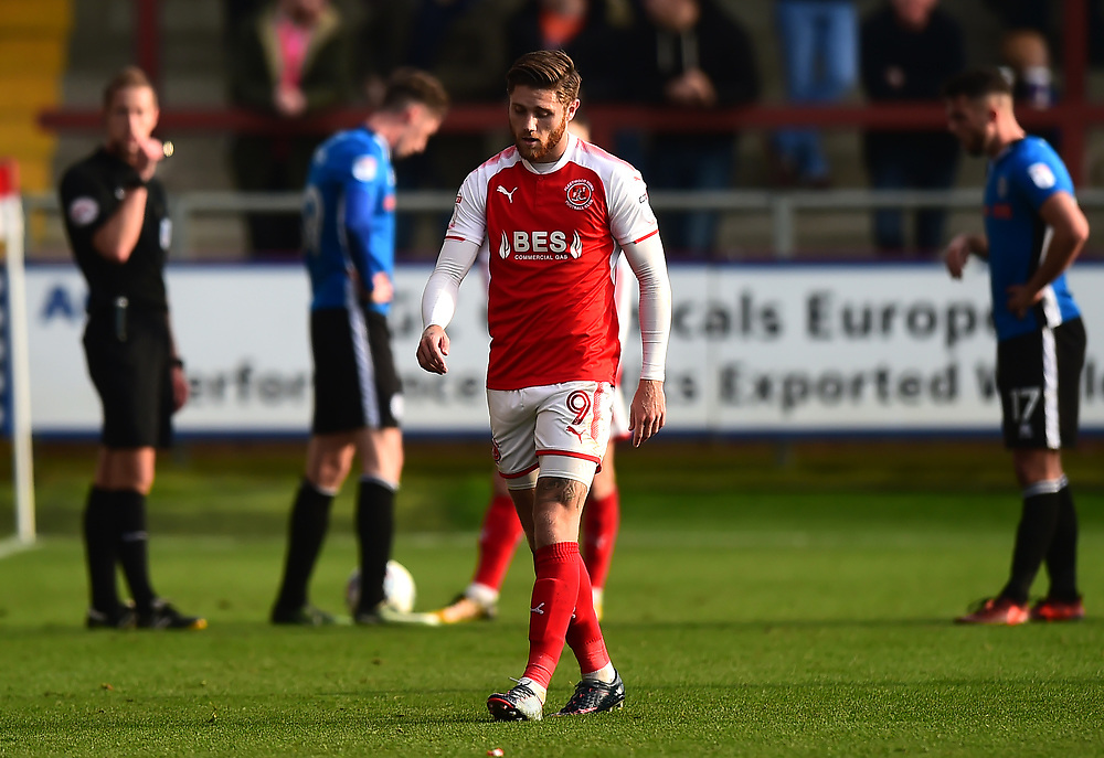 Fleetwood Town's Wes Burns walks off after being shown a red card<br /> <br /> Photographer Richard Martin-Roberts/CameraSport<br /> <br /> The EFL Sky Bet League One - Fleetwood Town v Rochdale - Saturday 14th October 2017 - Highbury Stadium - Fleetwood<br /> <br /> World Copyright © 2017 CameraSport. All rights reserved. 43 Linden Ave. Countesthorpe. Leicester. England. LE8 5PG - Tel: +44 (0) 116 277 4147 - admin@camerasport.com - www.camerasport.com