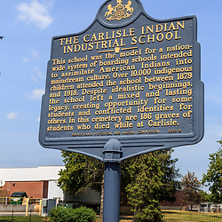Carlisle, PA - June 26, 2016: The Historic Marker at the gravesite of Native Americans that attended the Carlisle Indian Industrial School.