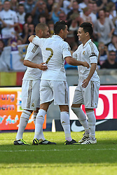 27.07.2011, Olympiastadion Berlin, GER, 1.FBL, Testspiel, Hertha BSC Berlin vs Real Madrid im Bild Benzema (Real Madrid #9) macht das 1:2-Tor und jubelt mit Dristiano Ronaldo (Real Madrid #7)  EXPA Pictures © 2011, PhotoCredit: EXPA/ nph/  Hammes       ****** out of GER / CRO  / BEL ******