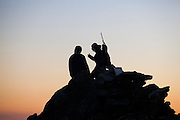 Jaroslaw Halat (right) and Marcin Tukalski, students from the University of Silesia, on the summit of Angellfellet near the Polish research station of Baranowka, Svalbard.
