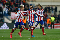 Atletico de Madrid´s Griezmann, Jesus Gamez and Fernando Torres celebrate their victory at the penalty shootouts during the UEFA Champions League round of 16 second leg match between Atletico de Madrid and Bayer 04 Leverkusen at Vicente Calderon stadium in Madrid, Spain. March 17, 2015. (ALTERPHOTOS/Victor Blanco)