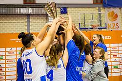 Triglav Kranj players celebrate after the basketball match between Cinkarna Celje and Triglav Kranj in Final match of Slovenian Woman Basketball cup, on March 11, 2018 in Dvorana Planina, Kranj, Slovenia. Photo by Ziga Zupan / Sportida