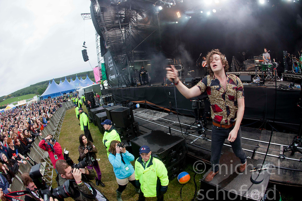 Ed Macfarlane of The Friendly Fires on the main stage..Sunday at Rockness 2012..©Michael Schofield..
