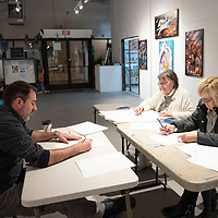 On Tuesday, Tine Hayes teaches new drawing techniques to  art teachers Dana Baer of Jefferson Elementary, left, and Linda Anderson of Chee Dodge Elementary, right, during the drawing workshop for GMCS teachers at the ART123 Gallery in Downtown Gallup.