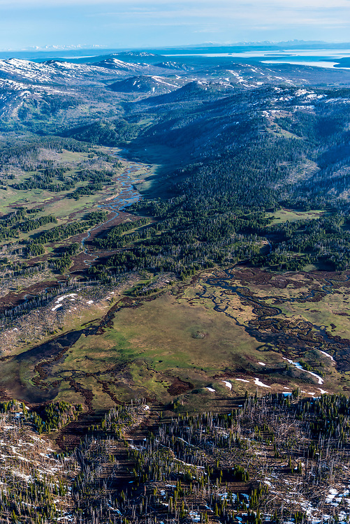 Aerial view of the headwaters of the Snake River in Yellowstone National Park in springtime with many little streams combining from Two Oceans Plateau in high elevations. Licensing and Open Edition Prints