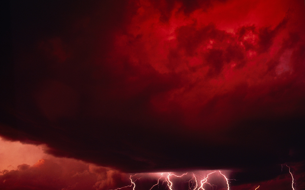 Lightning storm, red clouds