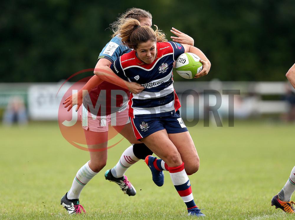 Sydney Gregson of Bristol Ladies is tackled - Mandatory by-line: Robbie Stephenson/JMP - 18/09/2016 - RUGBY - Cleve RFC - Bristol, England - Bristol Ladies Rugby v Aylesford Bulls Ladies - RFU Women's Premiership