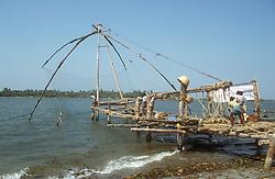 Chinese fishing nets at Cochin; Kerala; India,