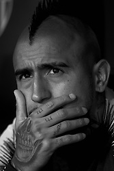 October 8, 2018 - Valencia, Valencia, Spain - Arturo Vidal during the week 8 of La Liga match between Valencia CF and FC Barcelona at Mestalla Stadium in Valencia, Spain on October 7, 2018..(Editors note: this image has been converted to black and white) (Credit Image: © Jose Breton/NurPhoto/ZUMA Press)
