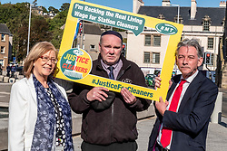 Pictured: Elaine Smith MSP, Michael Hogg, RMT regional organisor amnd Richard Leonard.<br /><br />Richard Leonard, leader of Scottish labour, Patrick Harvie, co-leader of the Scotrtish Greens, joined other MSPs and memberes of the RMT union today to protest against Abellio contract. The rail union were demonstrating outside the Scottish Parliament in a call for the termination of privateer Abellio ScotRail's contract.<br /><br />Ger Harley | EEm 2 October 2019